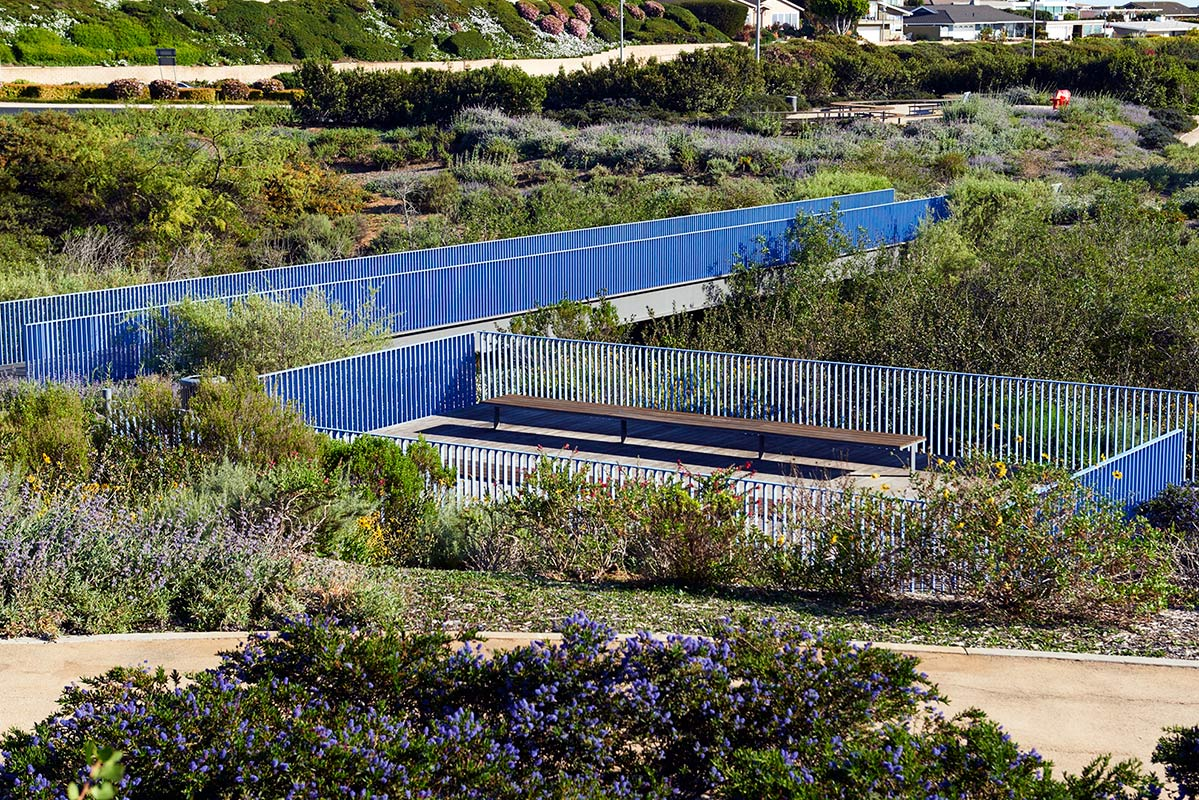 Coastal Sage Scrub Gardens surround blue bridges and places for relaxation